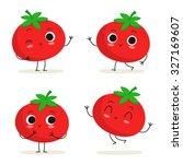 tomato. cute vegetable vector... | Shutterstock .eps vector #327169607