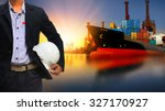 working man and container ship... | Shutterstock . vector #327170927