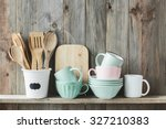 kitchen cooking utensils in... | Shutterstock . vector #327210383