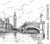 london city hand drawn  vector... | Shutterstock .eps vector #327235673