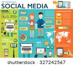 social media infographic set... | Shutterstock .eps vector #327242567