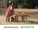 beautiful priestess in outdoor... | Shutterstock . vector #327252773