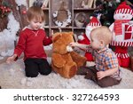 two brothers are playing under... | Shutterstock . vector #327264593