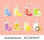 fresh juices set in flat style. ... | Shutterstock .eps vector #327265247