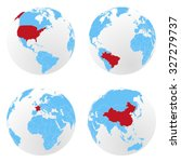 set of vector globes with... | Shutterstock .eps vector #327279737