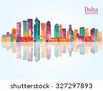 doha detailed skyline. vector... | Shutterstock .eps vector #327297893
