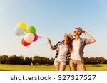 couple in love walking with... | Shutterstock . vector #327327527