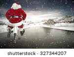 santa claus and road  | Shutterstock . vector #327344207