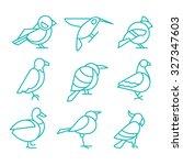 set of birds in line style.... | Shutterstock .eps vector #327347603