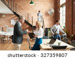 busy trendy office with... | Shutterstock . vector #327359807