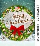 christmas greeting card light... | Shutterstock .eps vector #327362687