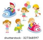 cute children in the park... | Shutterstock .eps vector #327368597