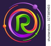 r letter logo with atoms orbits.... | Shutterstock .eps vector #327385403