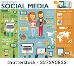 social media infographic set... | Shutterstock .eps vector #327390833