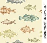 vintage marine pattern. hand... | Shutterstock .eps vector #327392387