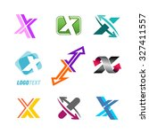 set of abstract x letter... | Shutterstock .eps vector #327411557