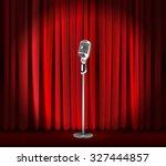 vintage metal microphone... | Shutterstock .eps vector #327444857