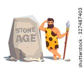stone age engraving on a big... | Shutterstock .eps vector #327487403