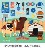 pet shop items set. vector... | Shutterstock .eps vector #327493583
