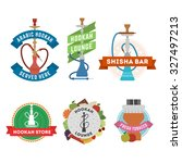 set of hookah labels and... | Shutterstock .eps vector #327497213