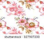 garden pink flowers pattern   Shutterstock . vector #327507233