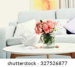 Beautiful Rose In Vase On Tabl...