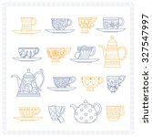 set of different teacups and... | Shutterstock .eps vector #327547997