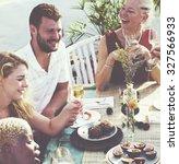 diverse neighbors drinking... | Shutterstock . vector #327566933