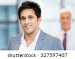 portrait of businessman with... | Shutterstock . vector #327597407