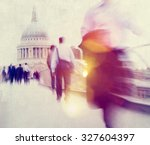people rushing in london... | Shutterstock . vector #327604397