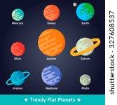 set of nine trendy flat planets ... | Shutterstock .eps vector #327608537