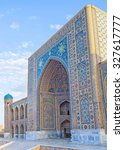 Small photo of SAMARKAND, UZBEKISTAN - MAY 1, 2015: The facade of Tilya Kori Madrasah with beautiful mosaic decorations, on May 1 in Samarkand.