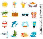 summer and vacations icons set... | Shutterstock . vector #327620717