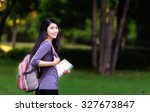 asian woman college student on... | Shutterstock . vector #327673847