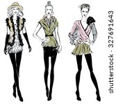 fashion models in sketch style... | Shutterstock .eps vector #327691643