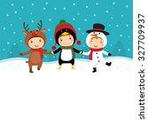 illustration of happy kids in... | Shutterstock .eps vector #327709937