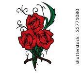 vector red roses illustration | Shutterstock .eps vector #32771080