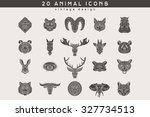 set of vintage animal icons.... | Shutterstock .eps vector #327734513