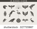 Set Of Vintage Birds Icons....