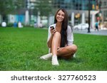 beautiful happy woman sitting... | Shutterstock . vector #327760523