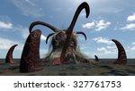 fantasy comic seamonster . 3d... | Shutterstock . vector #327761753