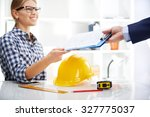 teamwork in architect's office. ... | Shutterstock . vector #327775037