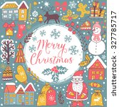 christmas greeting card... | Shutterstock .eps vector #327785717