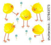 cute hand drawn chicks set.... | Shutterstock .eps vector #327863573