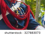 Small photo of Spanish royal guard jacket with military awards and an aiguillette