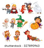 happy halloween. funny little... | Shutterstock .eps vector #327890963