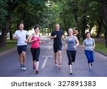 people group jogging  runners... | Shutterstock . vector #327891383