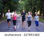 people group jogging  runners... | Shutterstock . vector #327891383