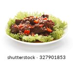 spicy beef in tomato sauce. | Shutterstock . vector #327901853