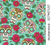 skull and flowers. seamless... | Shutterstock .eps vector #327907157